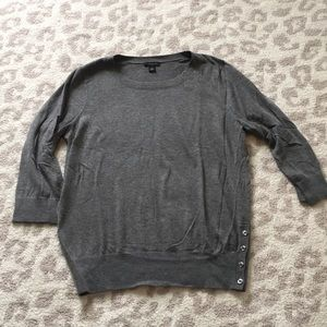 Gray Side button sweater